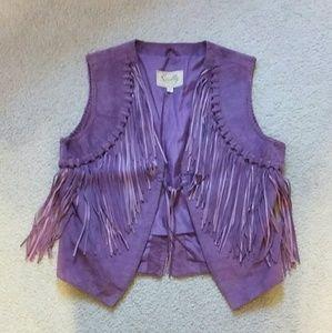 Vintage Genuine Leather Vest With Fringe